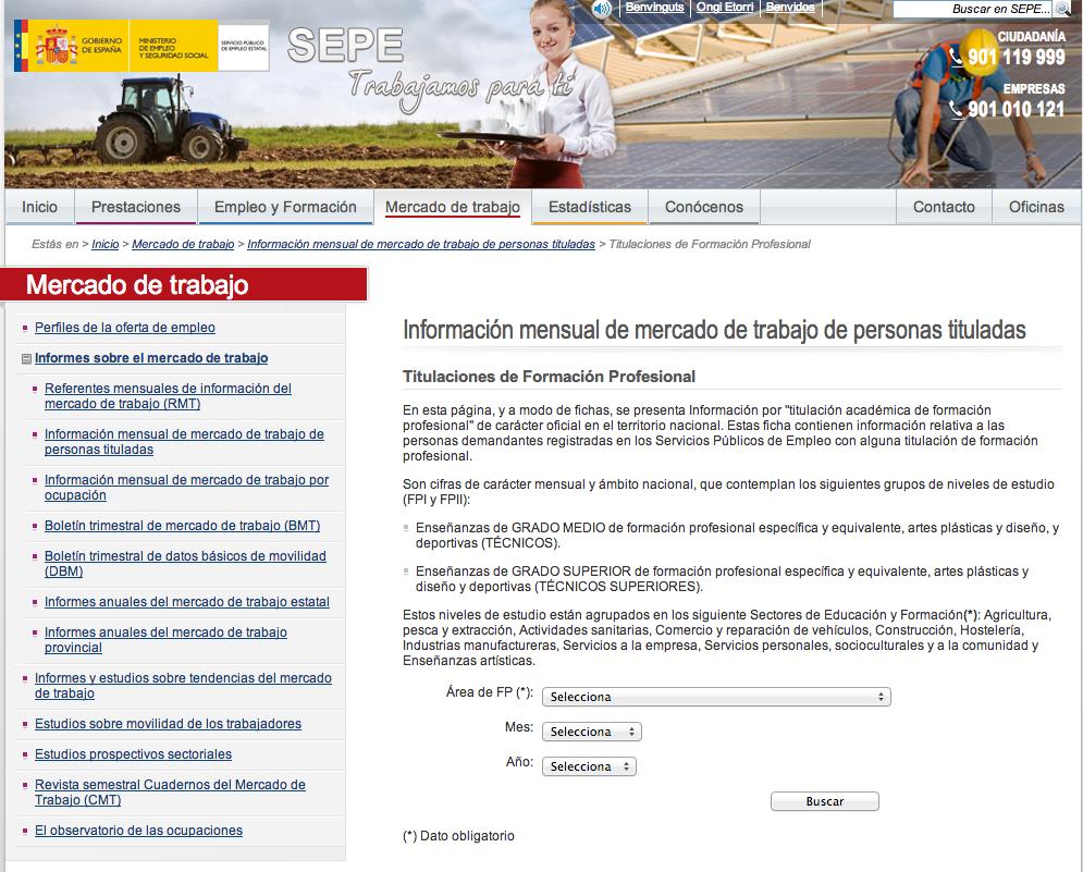Servicio Público de Empleo Estatal   Mercado de trabajo